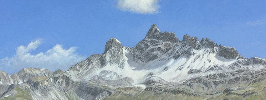 """Detail of """"Freiberg Kärpf, Canton Schwyz"""" in the 2021 Gilde exhibition in Siebnen"""
