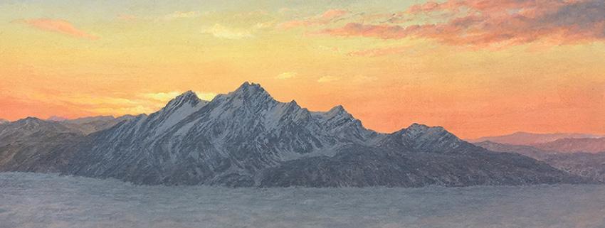 """Detail of """"Pilatus, Winter Sunset"""" in the 2021 Gilde exhibition in Siebnen"""