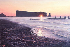 Sunburst, Percé Rock, Quebec, Canada